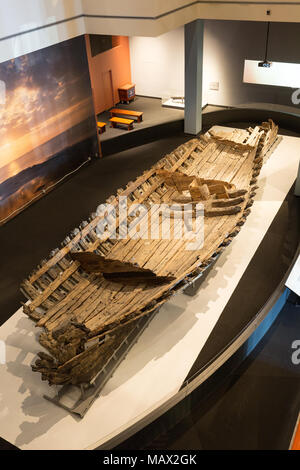 Hull of La Belle ship, flagship of Robert de la Salle, which sunk off Texas in 1686; now in the Bob Bullock Texas State History Museum, Austin, Texas - Stock Photo