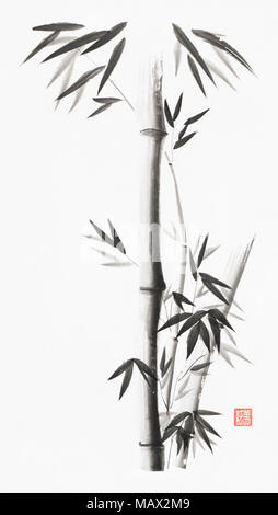 Minimalistic bamboo stalks with leaves artistic oriental style illustration, Japanese Zen Sumi black ink painting on white rice paper background - Stock Photo