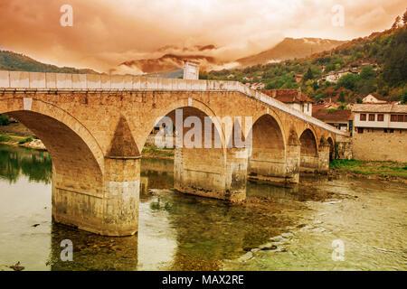 Stara Cuprija Bridge Or Konjic Bridge Over Neretva River An Ottoman Inspired Bridge A Cultural Heritage In Konjic Town Of Bosnia And Herzegovina - Stock Photo