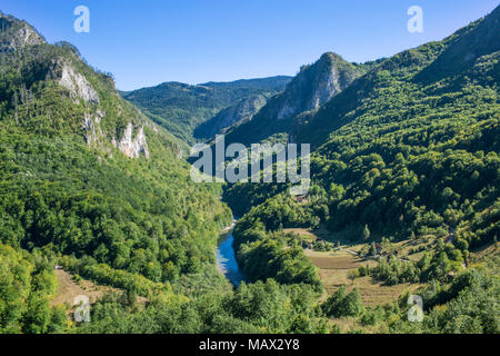 Beautiful View Over The Green Mountains And Tara River Canyon In Montenegro with Amazing nature in Eastern Europe - Stock Photo