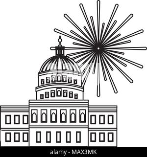united states capitol building in washington fireworks - Stock Photo