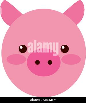 cute little pig head - Stock Photo