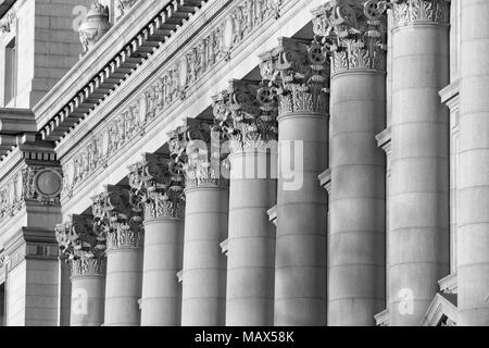 A series of Corinthian Columns shot at sunset in Black & White, this was taken in lower Manhattan at the old customs house - Stock Photo
