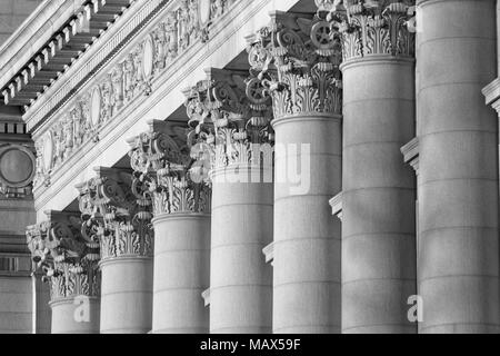 A series of Corinthian Columns shot at sunset in Black & White, this was taken in lower Manhattan at the old customs house i - Stock Photo