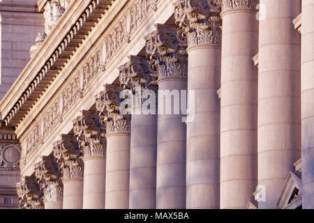 A series of Corinthian Columns shot at sunset, this was taken in lower Manhattan at the old customs house - Stock Photo