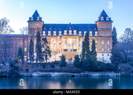 Castle at the park of valentino in turin. Panorama of Turin witj Po River - Stock Photo