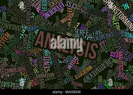 Analysis, business word cloud, abstract embossed, for web page, graphic design, catalog, textile or texture printing & background. - Stock Photo