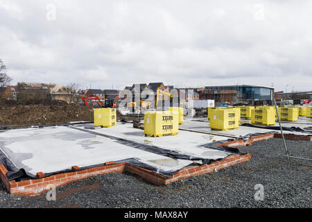 New domestic homes in the process of being built at Great Park, Newcastle upon Tyne, UK - Stock Photo