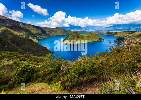 Cuicocha, beautiful blue lagoon inside the crater of the Cotacachi volcano - Stock Photo