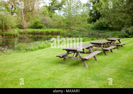 Row of weathered wooden picnic tables with benches on a lawn near a pool in  summer english garden or park. Southern England, UK - Stock Photo