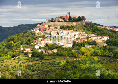 View to Motovun, croatian medieval town built on the hill. - Stock Photo