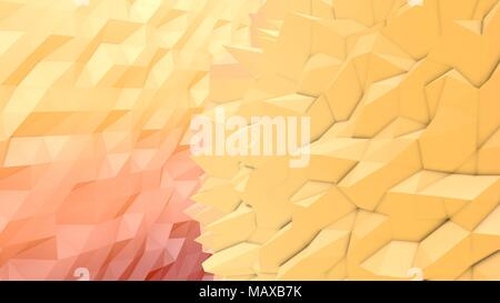 An exciting 3d illustration of a pink, peach and yellow lowpoly backdrop with a triangular and rhombus surface. A multi shaped area looks like a moder - Stock Photo