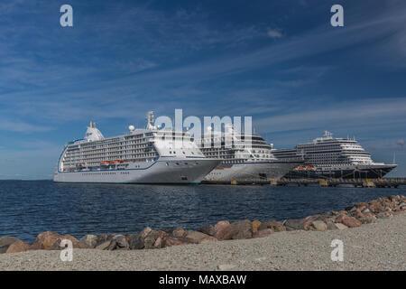 Viking Star, Holland America Koningsdam and Seven Seas Voyager docked at Tallinn Estonia - Stock Photo