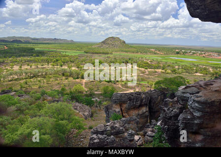 View from Anjalak Hill over the incredible scenery and wetlands of  Arnhem Land, Northern Territory, Australia - Stock Photo