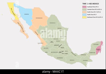 Vector map of the five time zones of the North American state of Mexico - Stock Photo