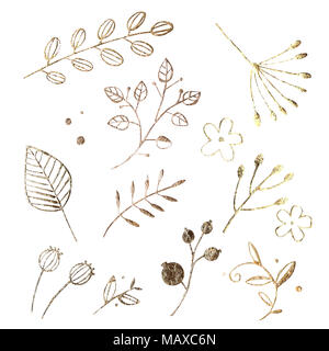 Golden leaf design elements. Decoration elements for invitation, wedding cards, valentines day, greeting cards. Isolated on white background. Vintage  - Stock Photo