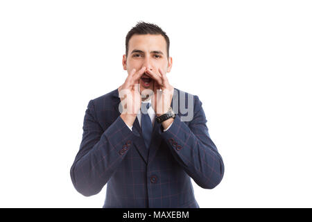 Young businessman or boss shouting as loud scream concept isolated on white background - Stock Photo