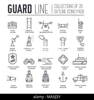 coast guard day illustration vector outline icon set. Guarding the order elements concept  - Stock Photo