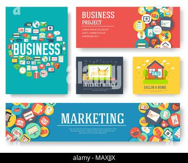 business elements cards set marketing template of flyear magazines
