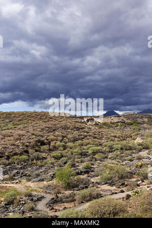 A Nature Trail wending its way through the Dry scrub in November, with Dark Clouds threatening rain on the Canary Island of Tenerife - Stock Photo