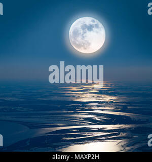 Lunar path on the lowland of Great river, top view - Stock Photo