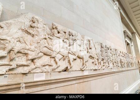 The Elgin marbles inside The British Museum, London, UK - Stock Photo