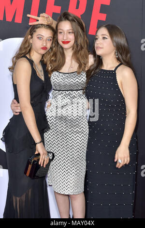 Los Angeles, California. 3rd Apr, 2018. Rockie Adlon, Odessa Adlon and Gideon Adlon attending the 'Blockers' premiere at Regency Village Theater on April 3, 2018 in Los Angeles, California. | Verwendung weltweit Credit: dpa/Alamy Live News - Stock Photo