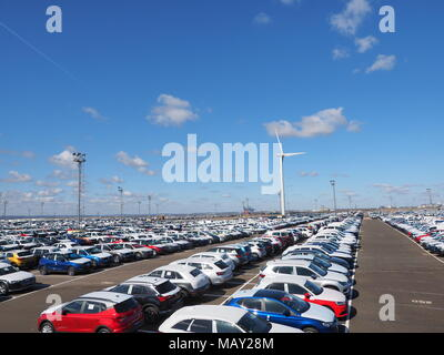 Sheerness, Kent, UK. 5th April, 2018. UK Car Sales: thousands of new cars are stored at Sheerness Docks after being imported into the UK. It's been reported today that new car sales have recently slumped, especially diesels. Greenpeace targeted diesel car imports at Sheerness with their 'Ditch Diesel' campaign in September 2017. Credit: James Bell/Alamy Live News - Stock Photo