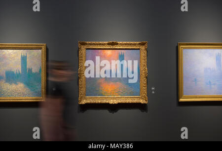 National Gallery, London, UK. 5 April 2018. An exhibition of more than 75 works looking at Monet's career through the buildings he painted. The last time the UK hosted an exclusively Monet exhibition was almost 20 years ago, and never one viewed through his paintings of architecture. Works include locations in Normandy, Rouen, Paris, London and Venice. The exhibition runs from 9 April - 29 July 2018. Credit: Malcolm Park/Alamy Live News. - Stock Photo