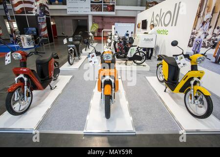 Poznan, Wielkopolska, Poland. 5th Apr, 2018. Poznan Motor Show 2018 is the largest motor show in Poland and the fourth in Europe. This year's edition presents vehicles in four salons: car, motorcycle, caravanning, truck and is held under the slogan ''Motorization of Tomorrow''. At the fair, you can see over 60 automotive premieres, concept cars and a vision of automotive future by designers and engineers. Credit: Dawid Tatarkiewicz/ZUMA Wire/Alamy Live News - Stock Photo