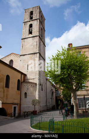 Bell tower of Cathedral Notre-Dame du Puy, Grasse, Alpes-Maritimes, South France, France, Europe - Stock Photo