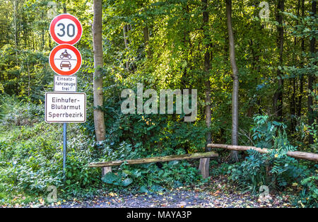 DUESSELDORF / GERMANY - OCTOBER 05 2017: Sign warning of of the infectious equine anaemia (EIA). Translation: Equine anemia prohibited area - Stock Photo