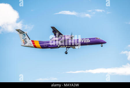 DUESSELDORF / GERMANY - OCTOBER 05 2017: Flybe Bombadier Dash 8 Q400 landing at Dusseldorf Airport - Stock Photo