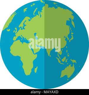 asia and europa global planet map - Stock Photo