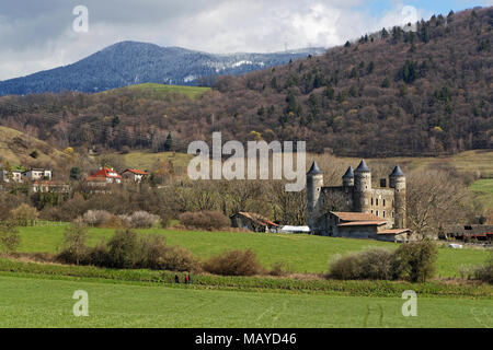 JARRIE, FRANCE, April 1st, 2018 : The castle of Bon Repos is a former strong house of XV century. Castle including the vestiges of the surrounding wal - Stock Photo