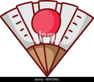 fan hand culture with japan flag design - Stock Photo