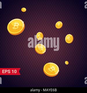 Coins falling vector illustration. Abstract coins dropping golden rain concept modern flat cartoon design isolated on white background - Stock Photo