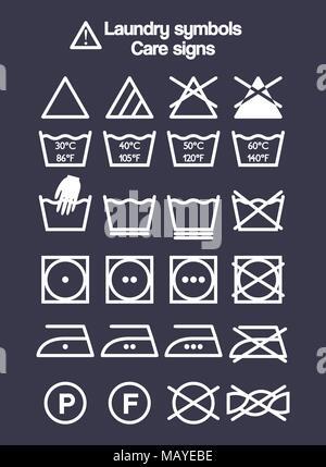 Icon Set Of Laundry Symbols Washing Instruction Symbols Cloth