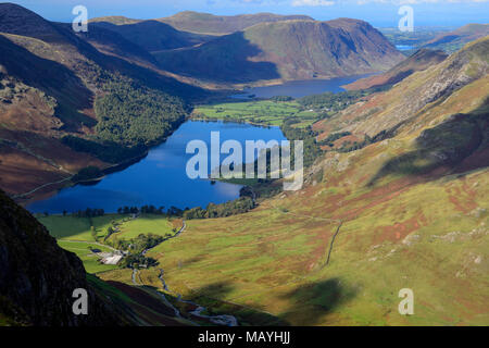 View over Buttermere and Crummock Water from Fleetwith Pike in the Lake District National Park in Cumbria, England - Stock Photo