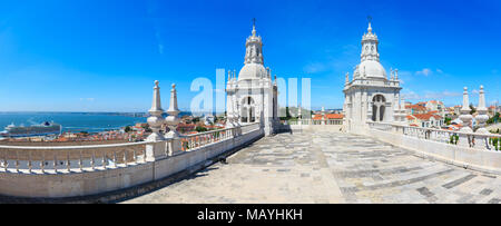 Roof with white bell towers on blue sky background. Monastery of St. Vincent Outside the Walls, or Church (Iglesia) de Sao Vicente de Fora in Lisbon,  - Stock Photo