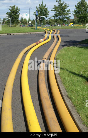 flood disaster zone, water pumping equipment - Stock Photo