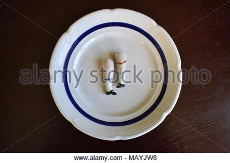 Porcelain doll legs on a plate. - Stock Photo