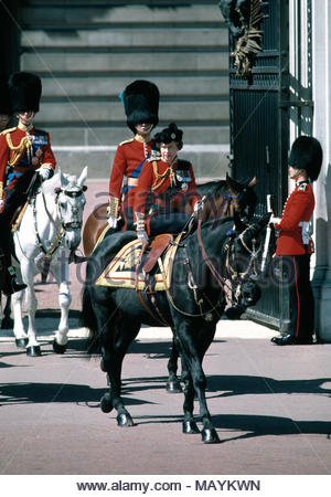 Her Majesty, Queen Elizabeth II in full dress uniform on Horseback with the guards regiment at start of Trooping the Colour. June 1986. - Stock Photo