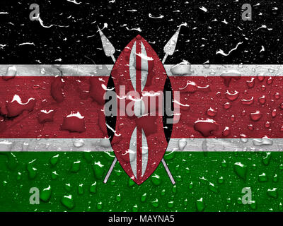 flag of Kenya with rain drops - Stock Photo