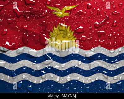 flag of Kiribati with rain drops - Stock Photo