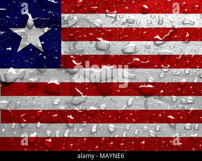 flag of Liberia with rain drops - Stock Photo