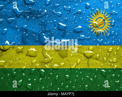 flag of Rwanda with rain drops - Stock Photo