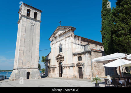 Cathedral Sv Marija with bell tower, Pula, Istria, Croatia - Stock Photo