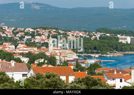View of Krk City, Krk Island, Kvarner Gulf Bay, Croatia - Stock Photo