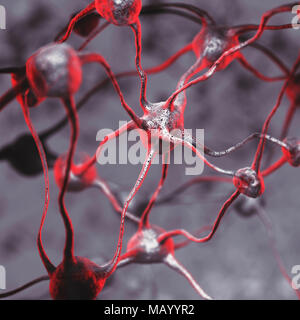 3D illustration of a Biological Neural network of a human brain, interconnected neurons, brain cells and connections, computer - Stock Photo